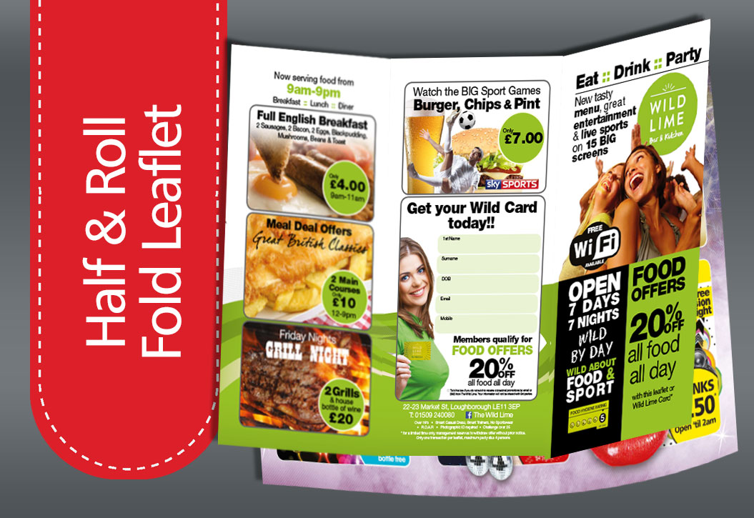 half and roll fold leaflet printing