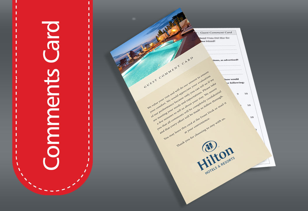 Hotel and Restaurant Comments Card printing